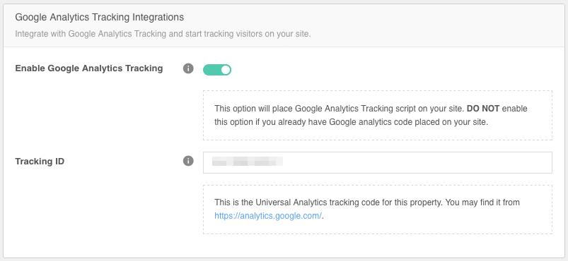 Google Analytics Tracking Integration