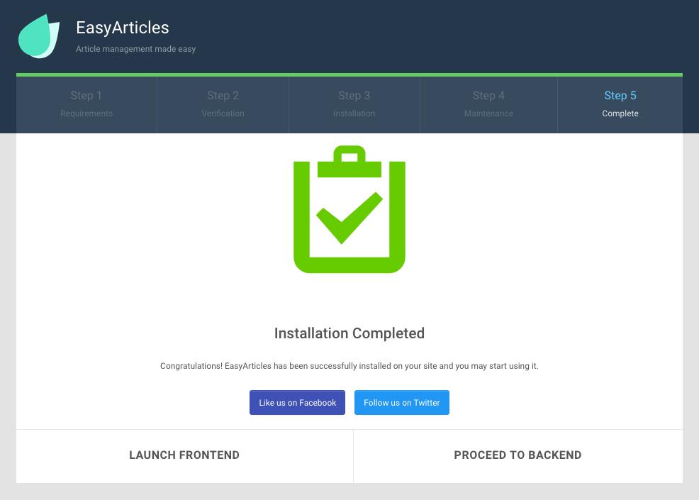EasyArticles Installation