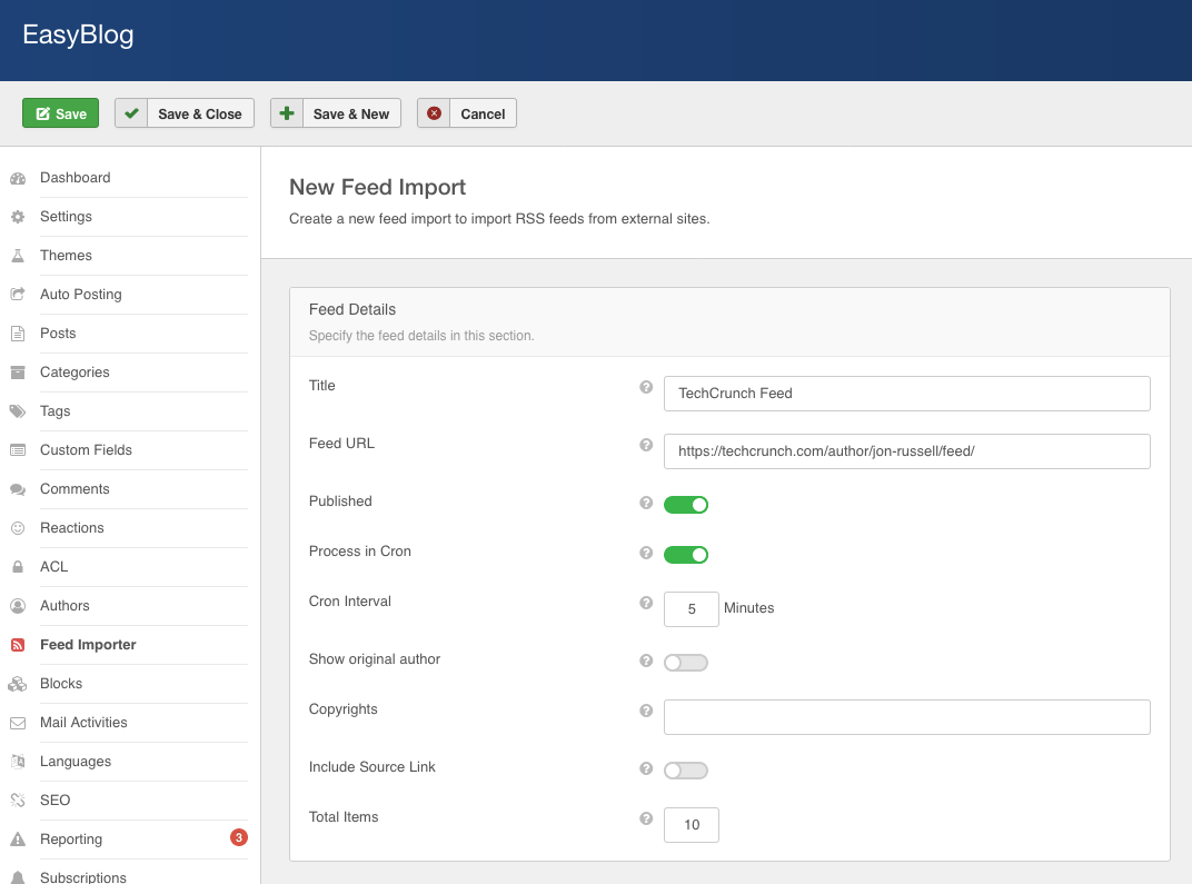 Feed Importer