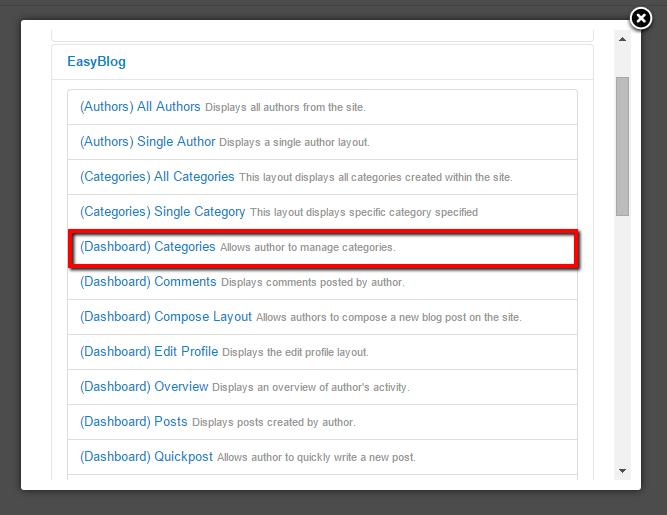 Dashboard Categories