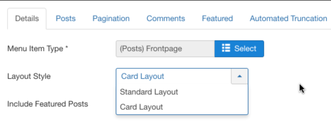 Front-end Layout Settings