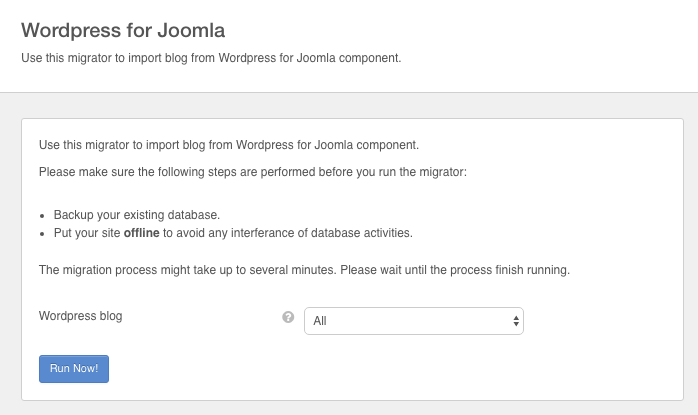 Wordpress for Joomla Migrator