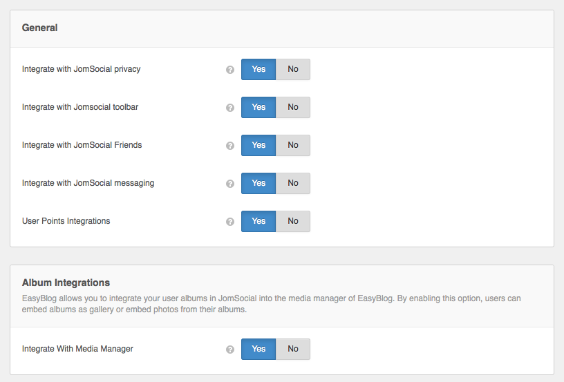 JomSocial Integration Settings