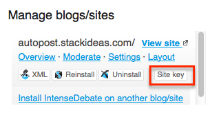 IntenseDebate Comments Manage Blogs/Sites