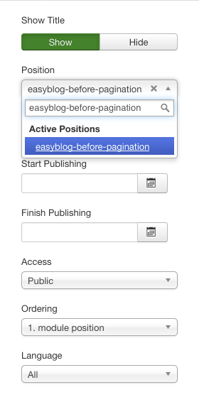 Setting Custom Joomla Module Position