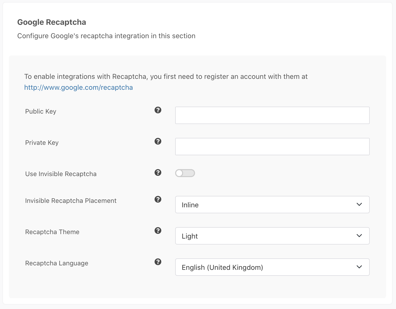 Google Recaptcha settings