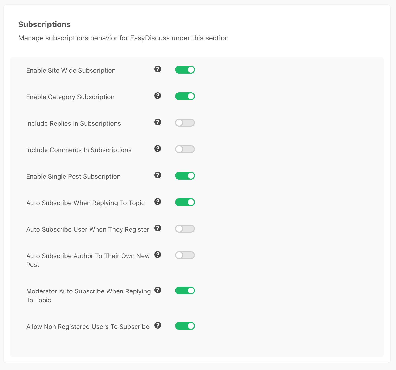 Subscription's settings