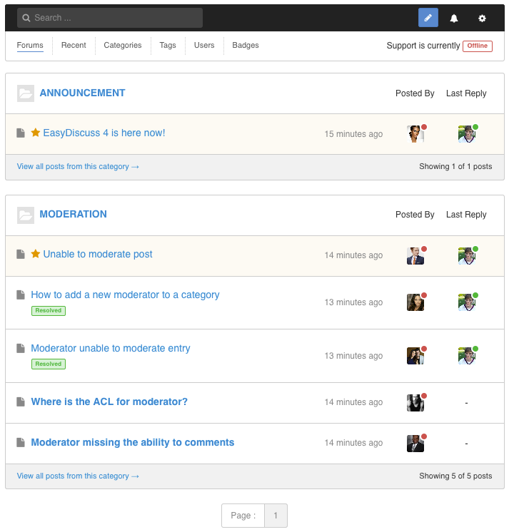 Forums Layout