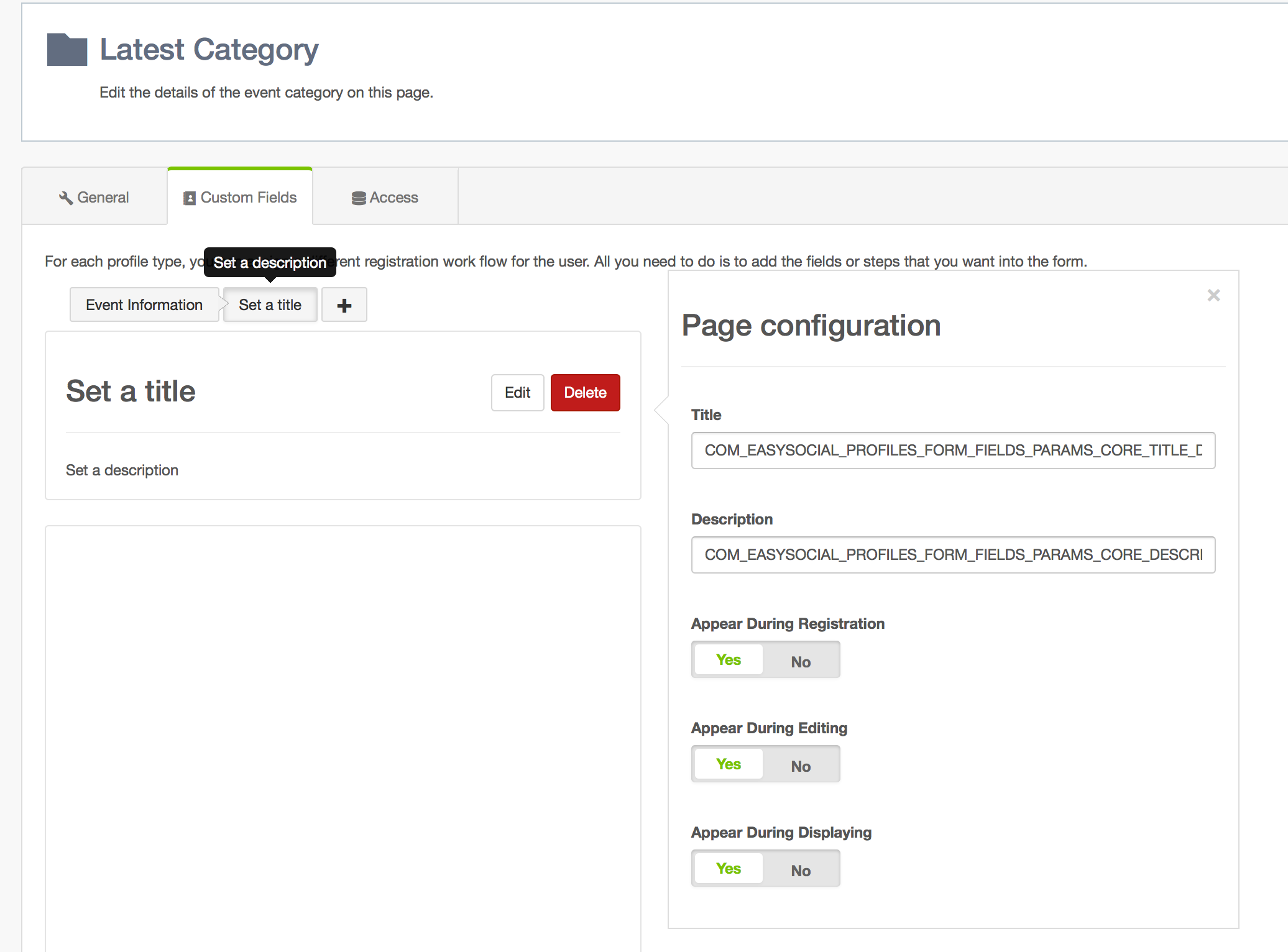 Create New Step for Event Categories in EasySocial
