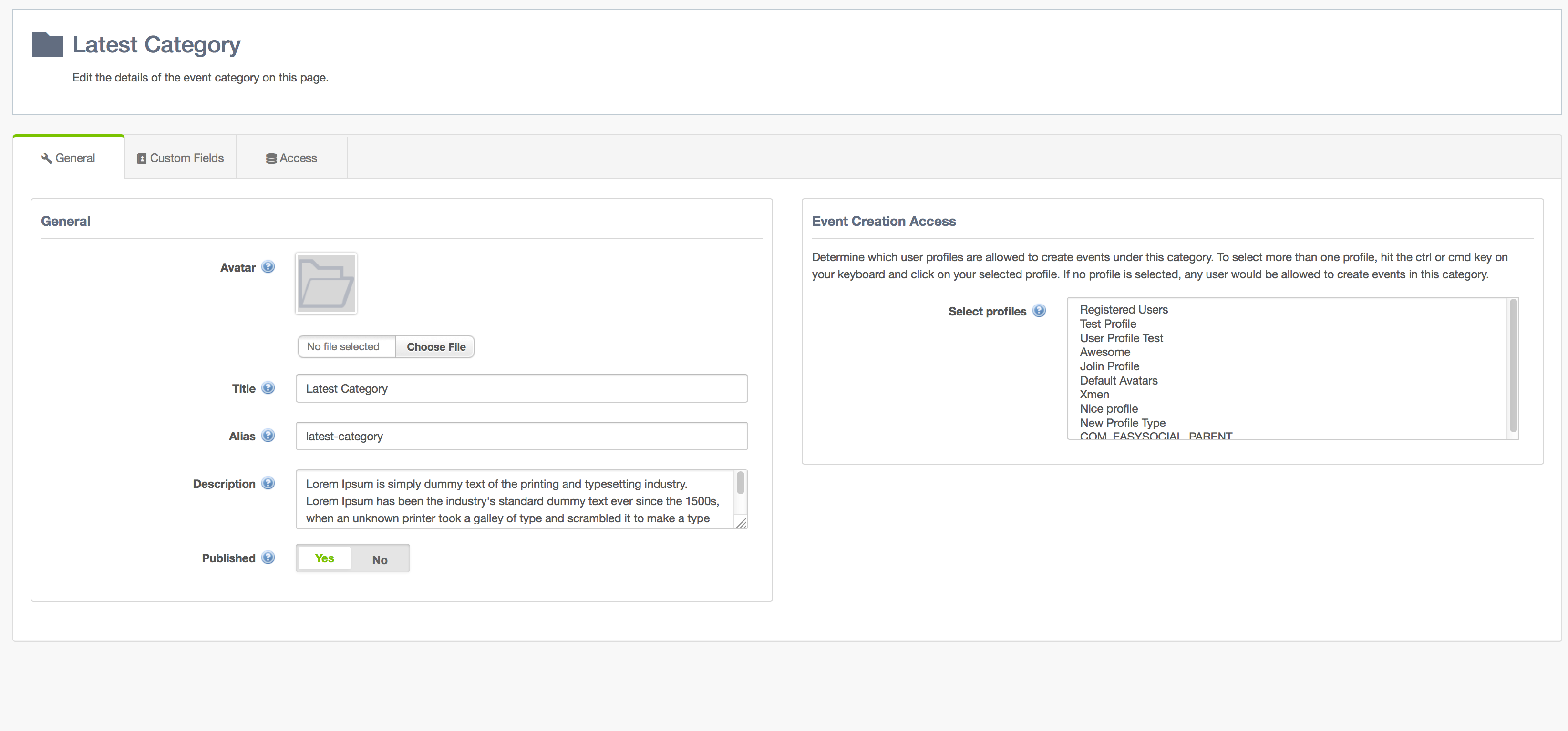 Event Categories General Settings in EasySocial