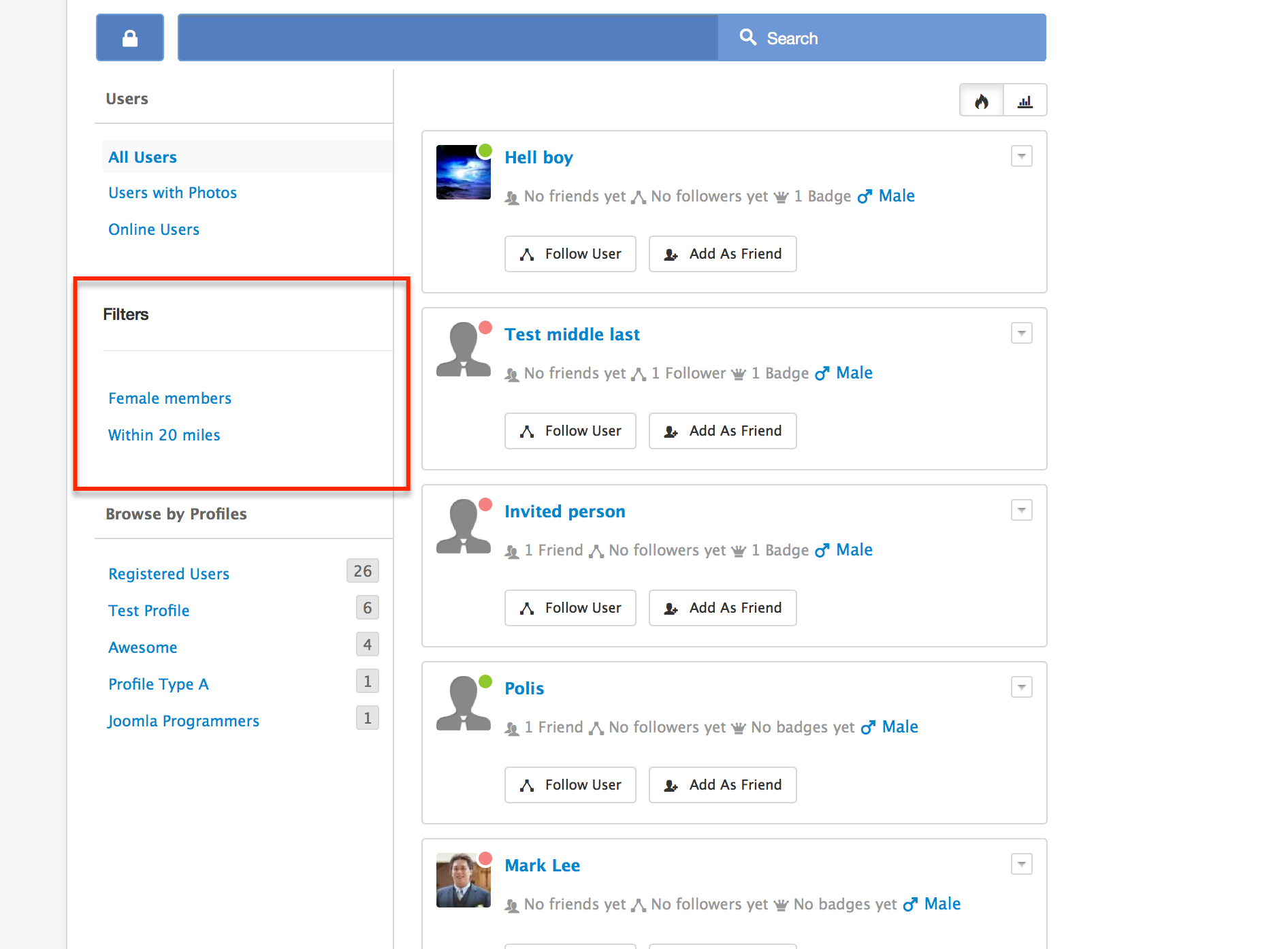 Users Listing in EasySocial