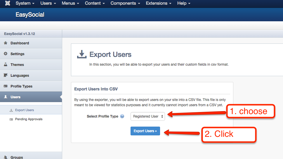 Exporting Users
