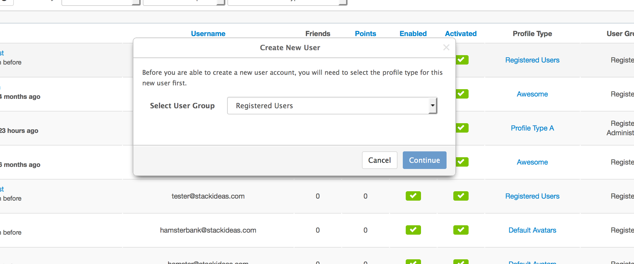Creating New User in EasySocial