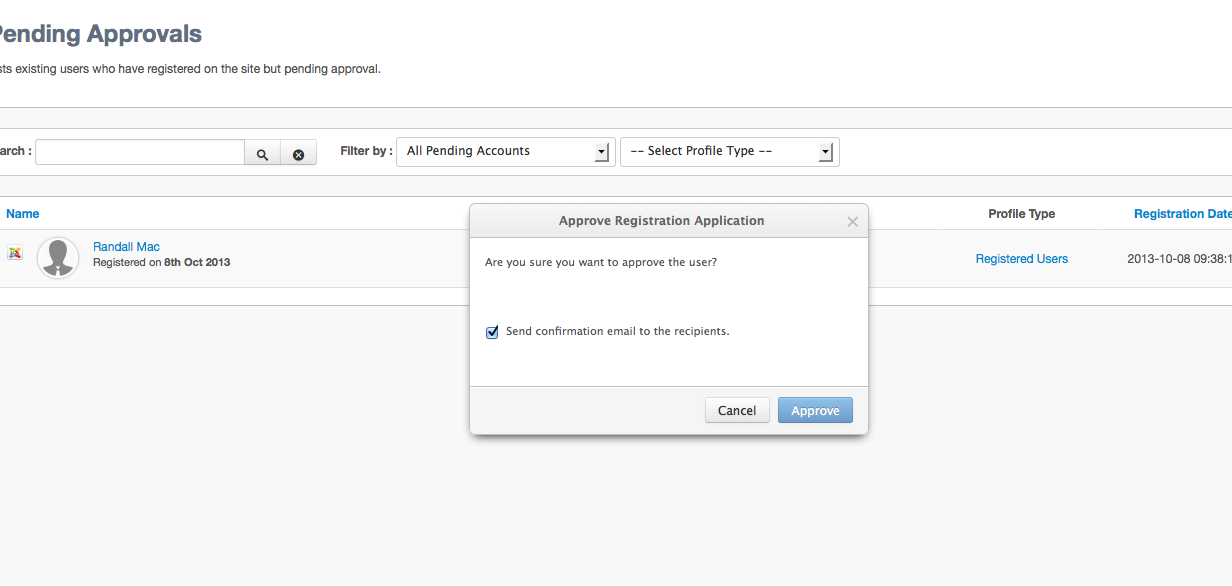Approve User Dialog in EasySocial