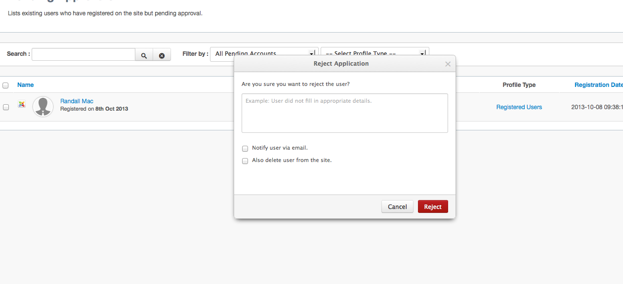 Reject User Dialog in EasySocial