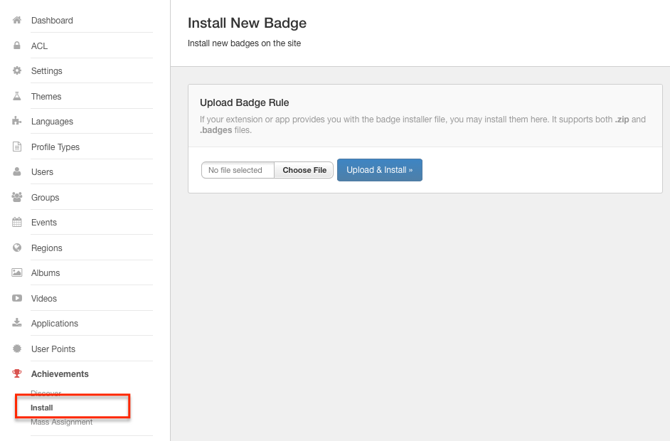 Install Badges in EasySocial