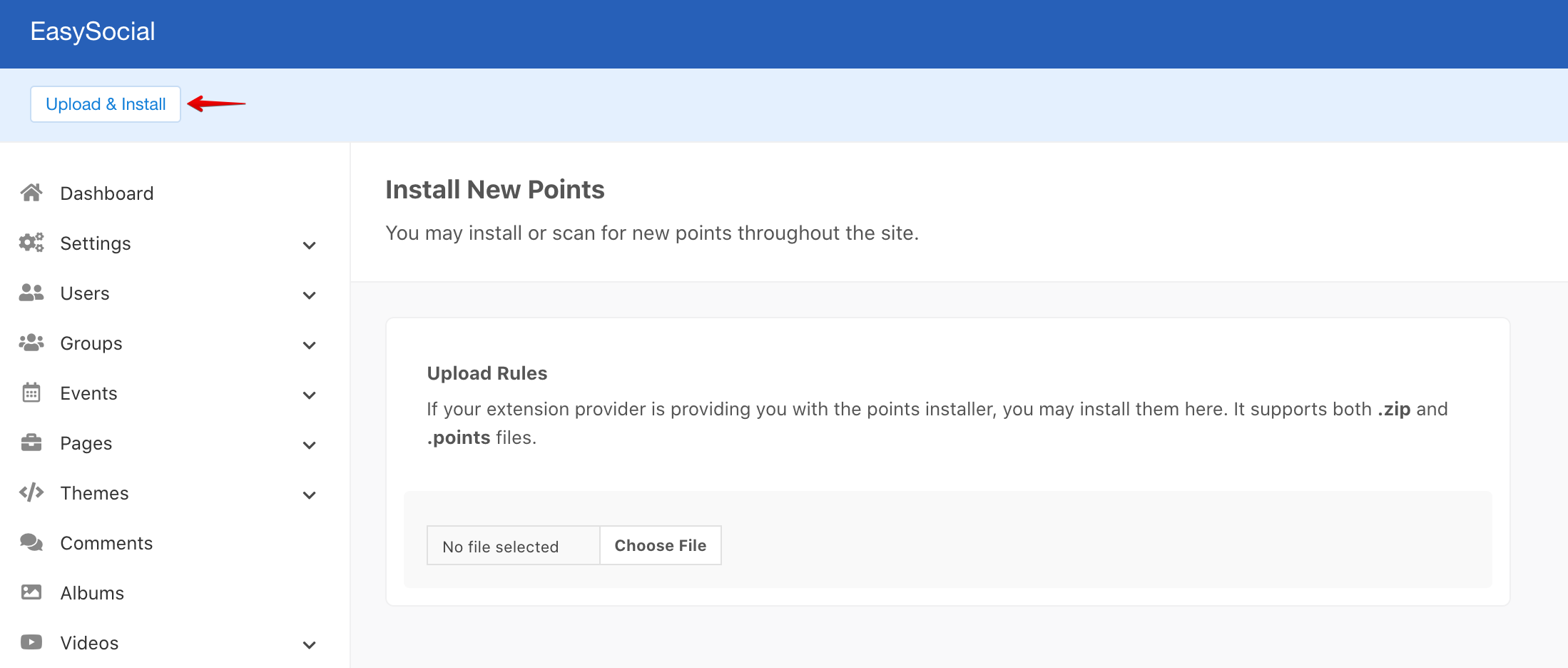 EasySocial Install Points
