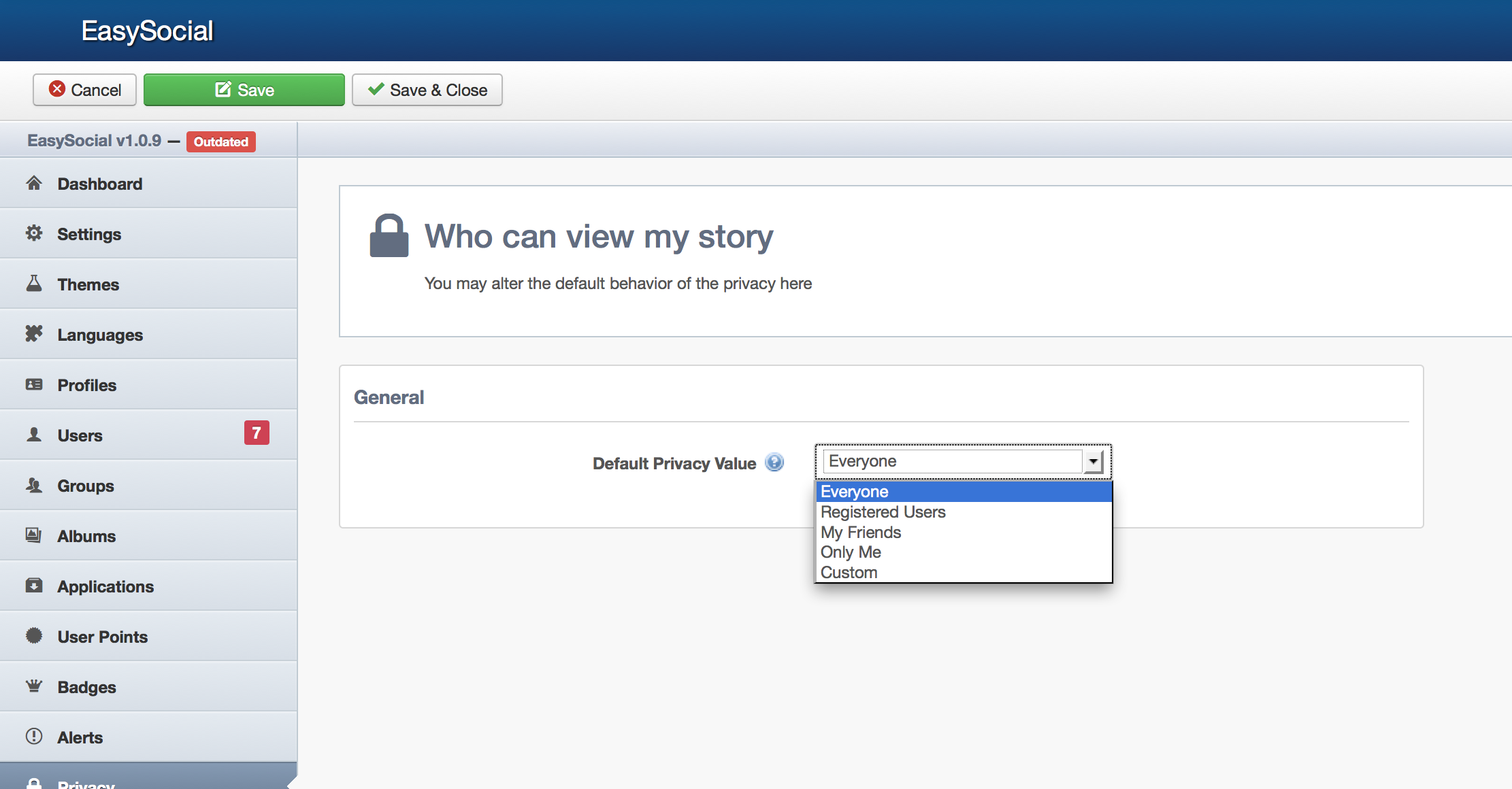 EasySocial Privacy Editor
