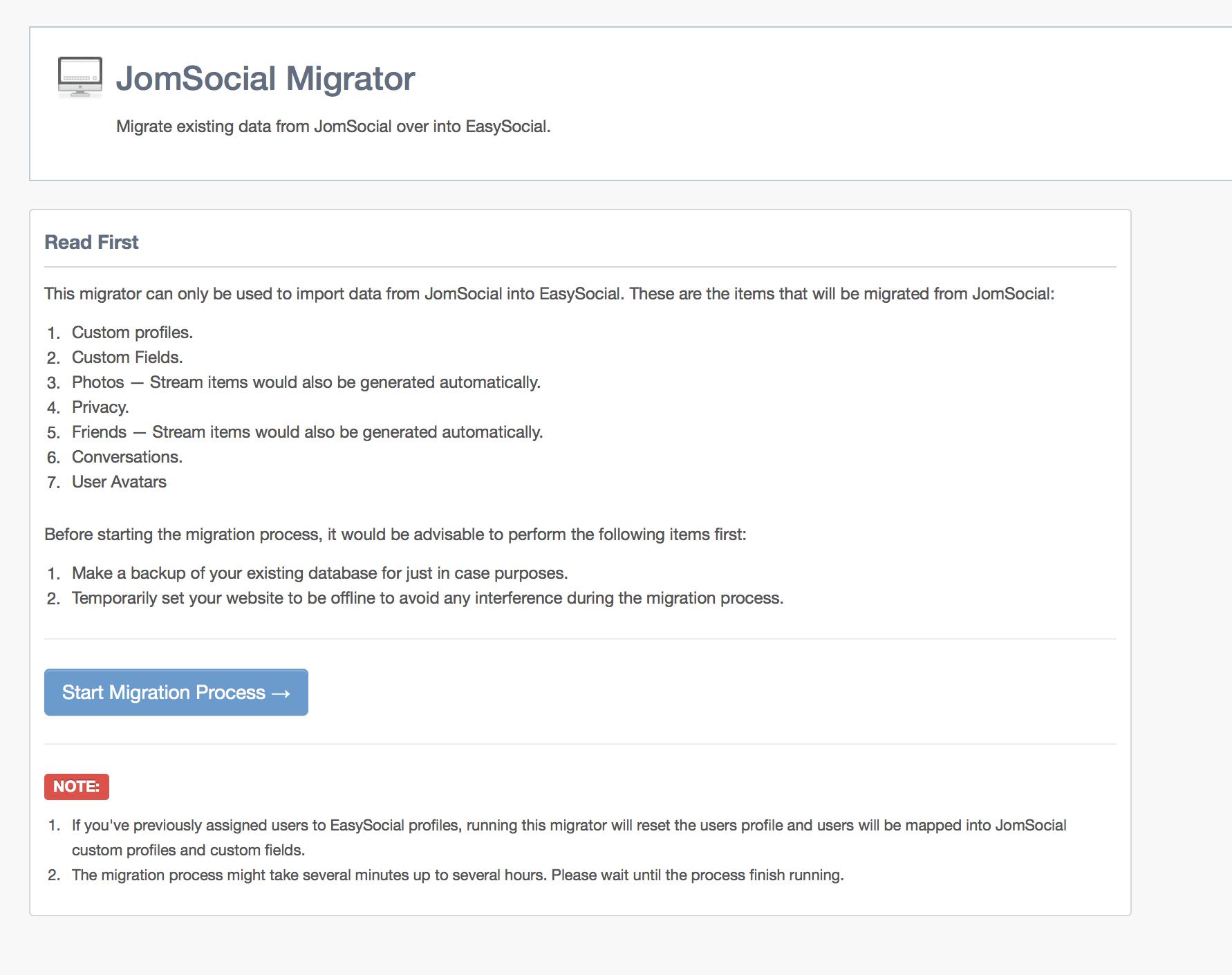 JomSocial User Migration Step 1