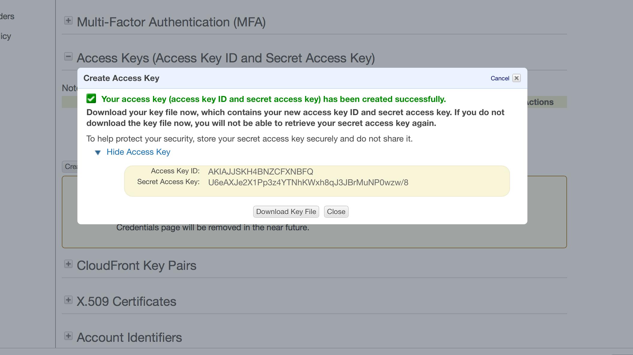Copy Access Key