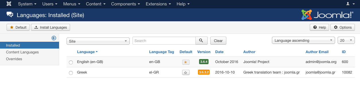 Enabling Joomla Language