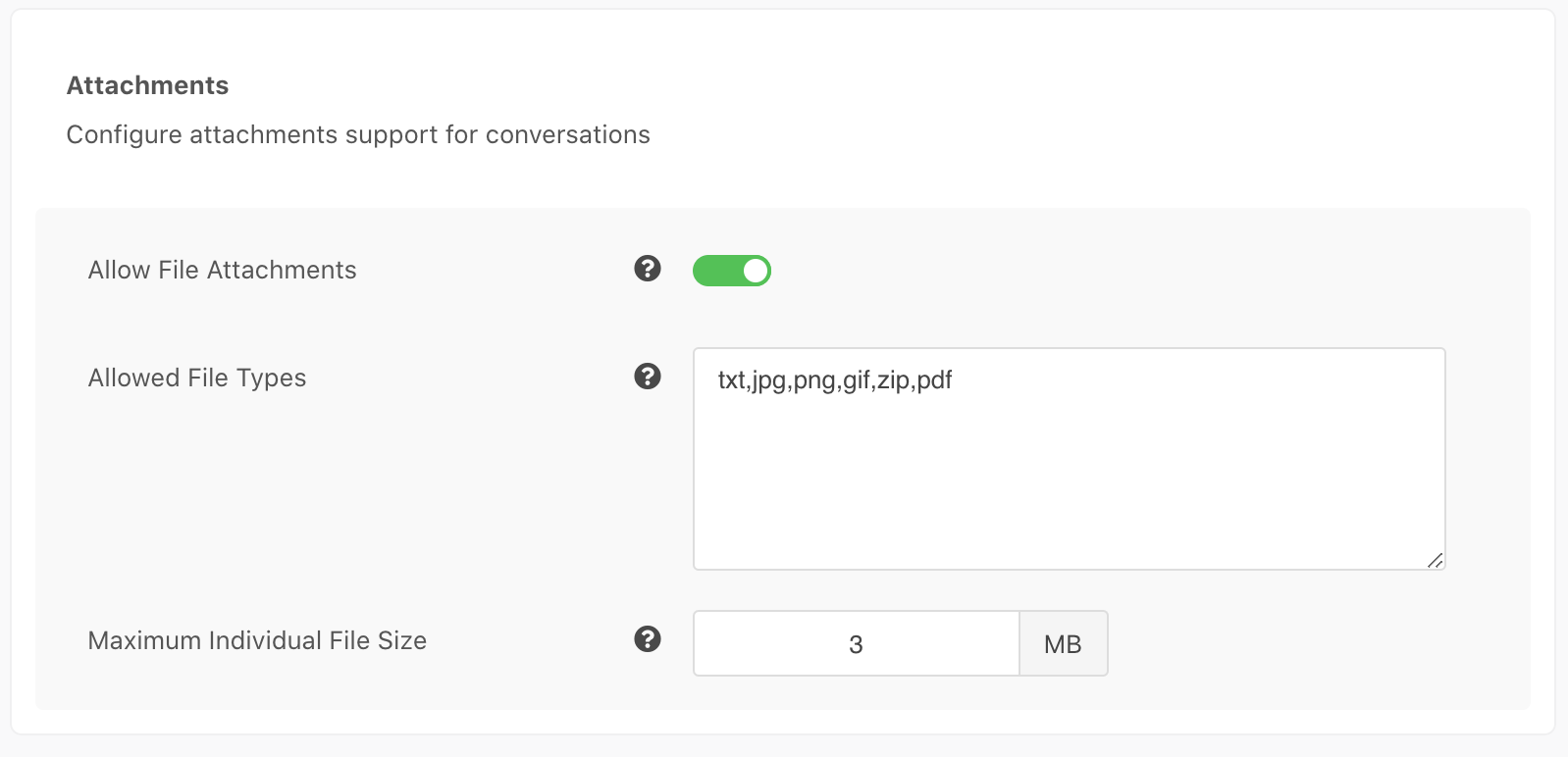 Conversation Attachements Settings