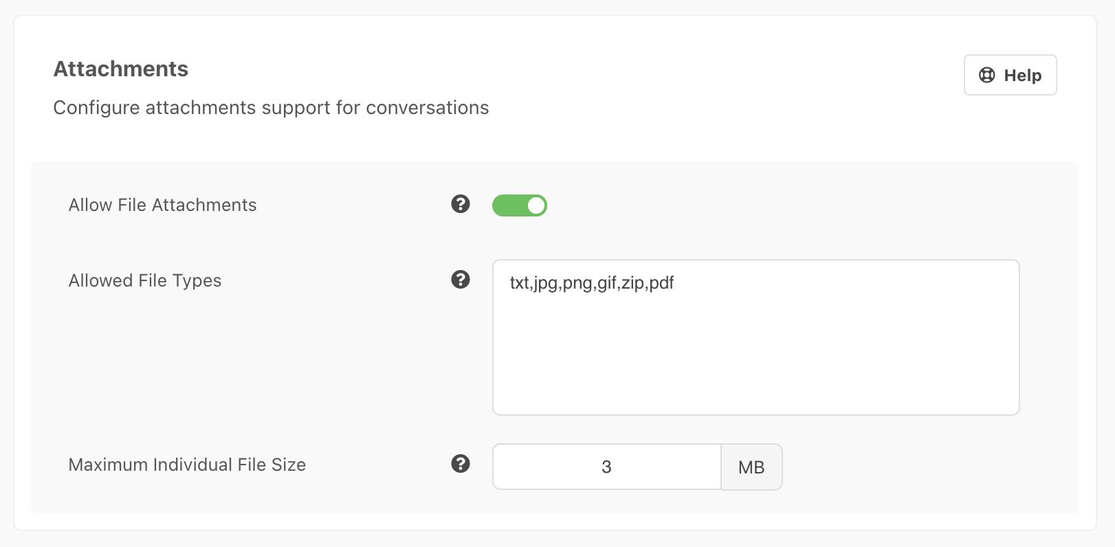 Conversation Attachements Settings