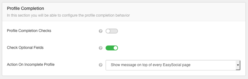 EasySocial Profile Completion Settings