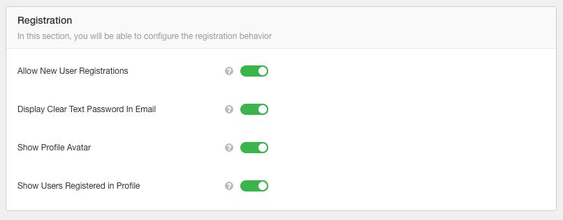EasySocial User's Registration Settings