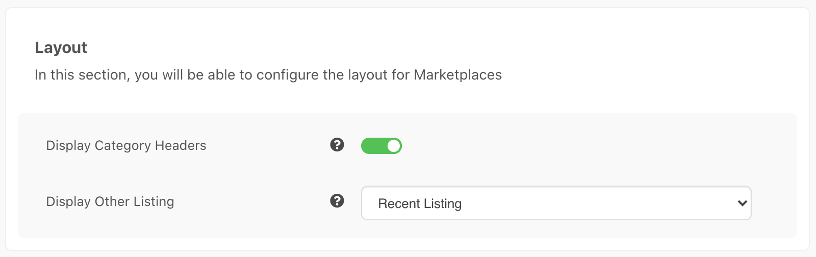 MarketPlaces Settings