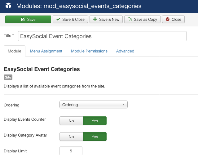 Event Categories Module