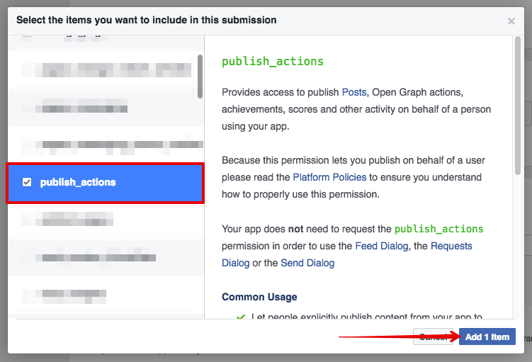 Facebook Publish Actions Permission
