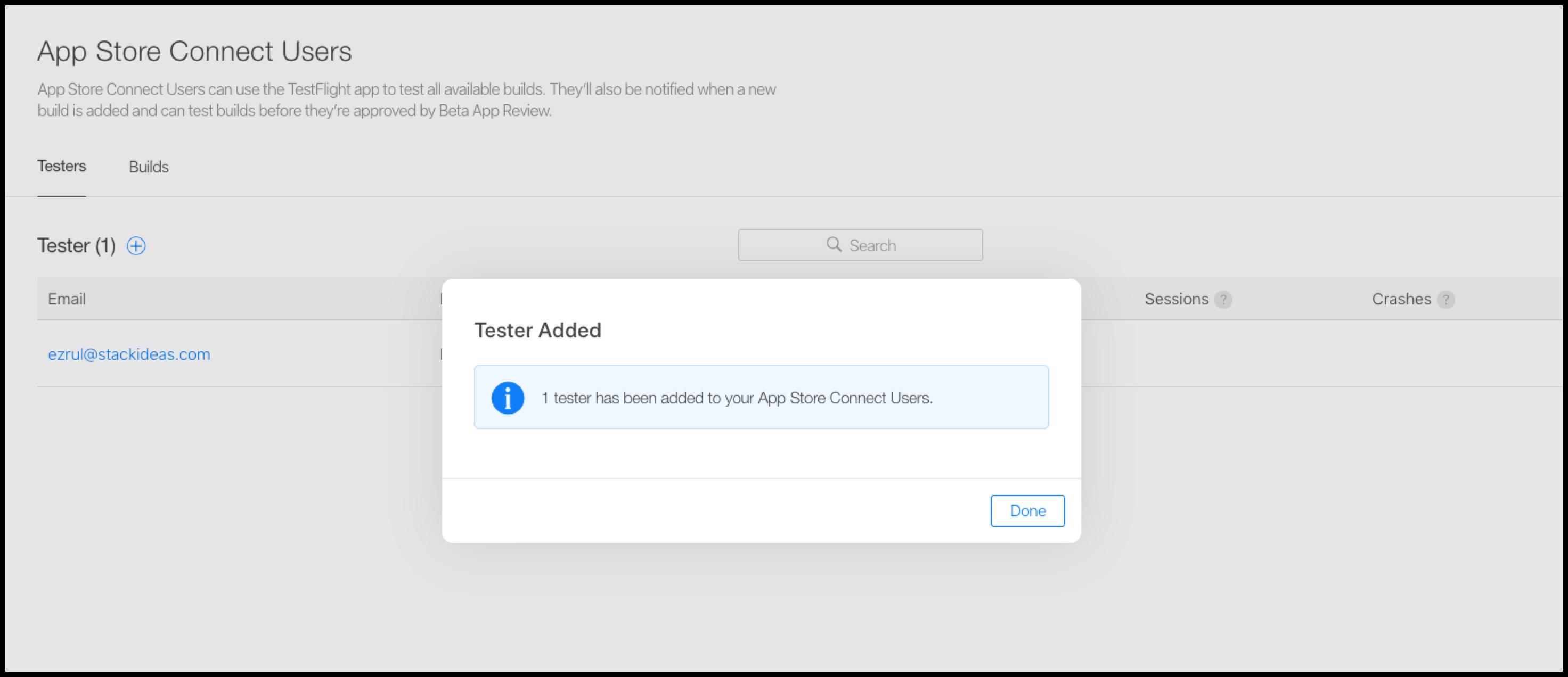 TestFlight Internal Tester Added