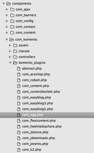 Komento Component's Plugin File