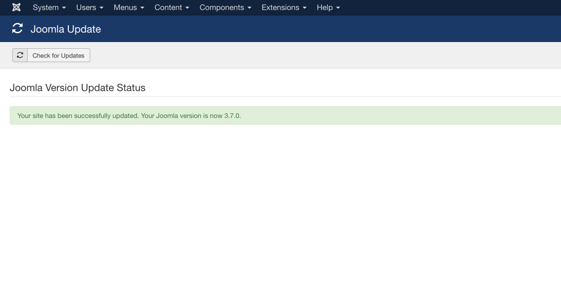 Joomla 3.7 update complete screen