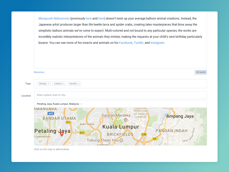 Joomla Articles location tagging