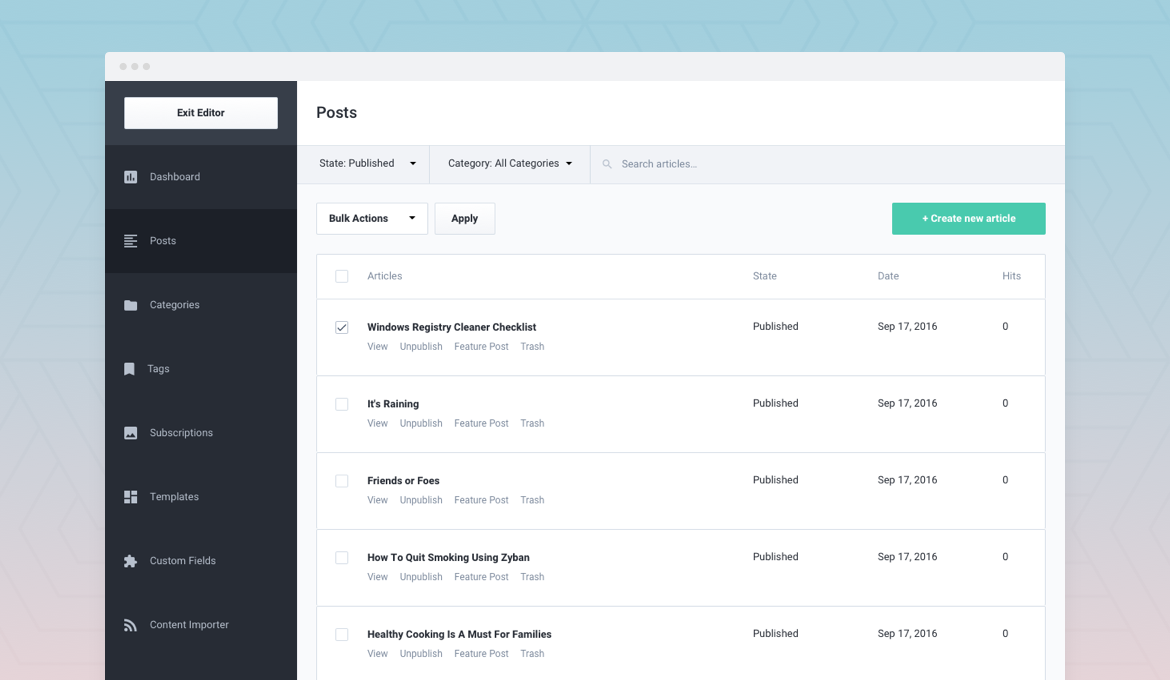 EasyArticles Frontend dashboard