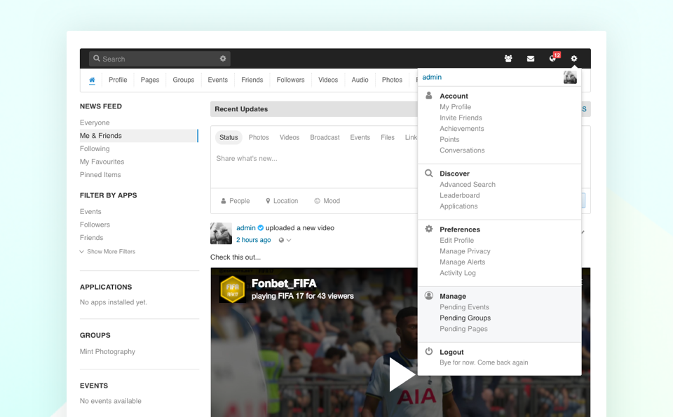 EasySocial 2.1 front-end moderate dashboard