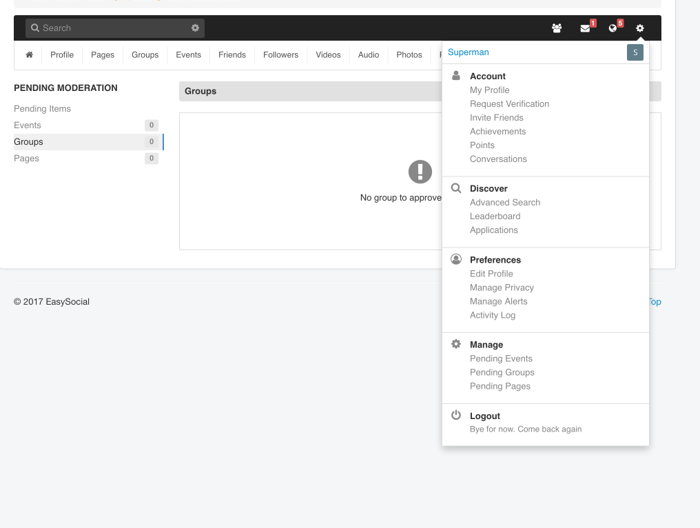 Moderate your site from the front end with EasySocial