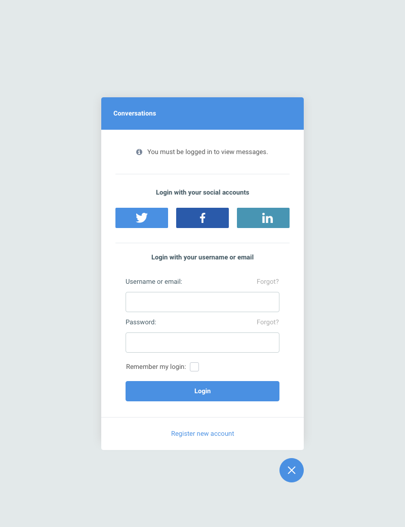 ConverseKit 1.1 login screen with social buttons