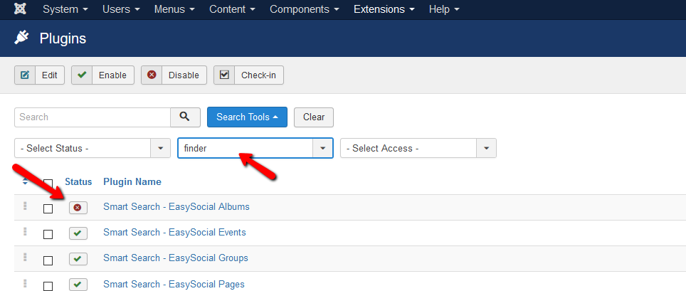 2. Disable the desired smart search plugins