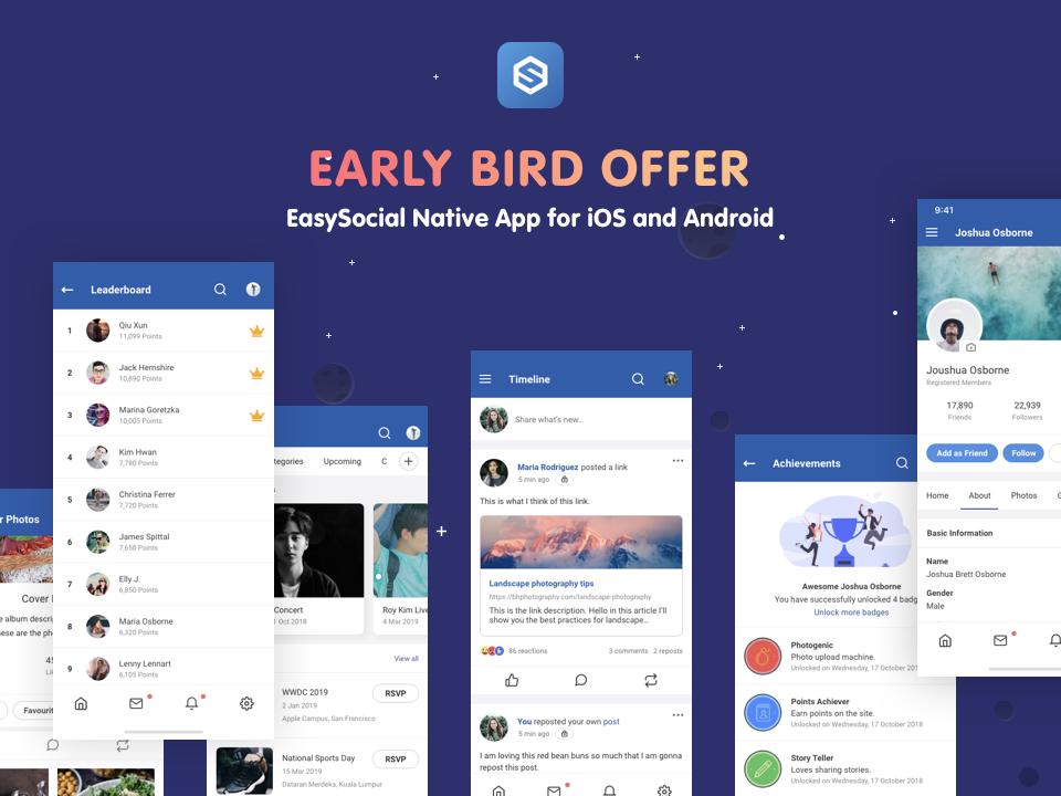 Early-Bird Discount For EasySocial Native App