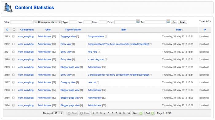 Statistics for Joomla and EasyBlog contents