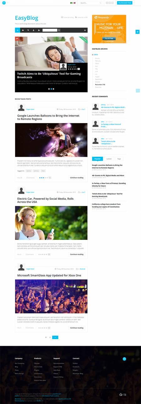 JA Appolio Joomla template supports EasyBlog