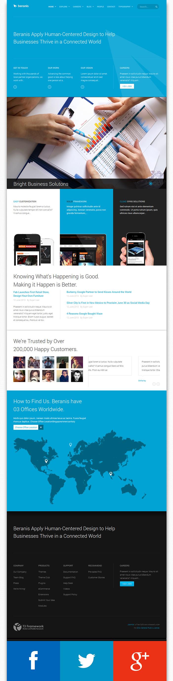 Responsive Joomla Template JA Beranis Supports EasyBlog