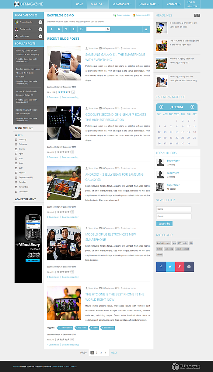 BT Magazine by BowThemes support EasyBlog for Joomla 3.x