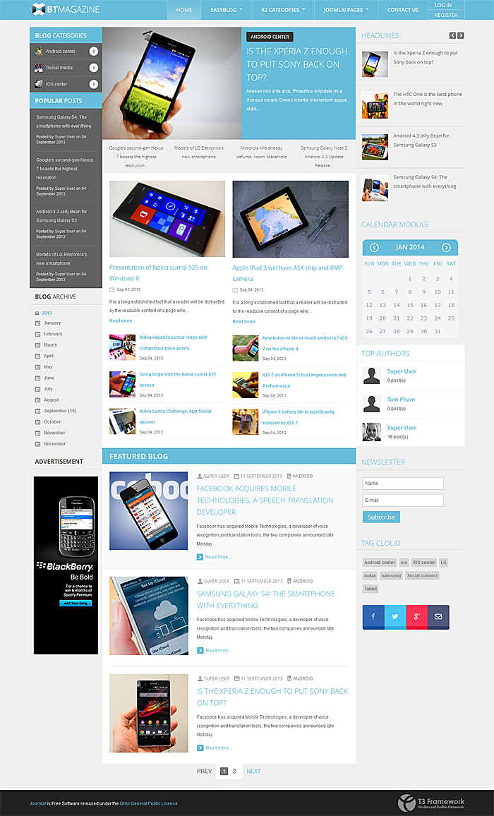 BowThemes Releases New Joomla Template Supporting EasyBlog