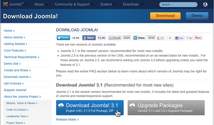 Downloading Joomla!