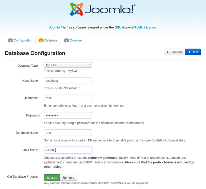 Configure database for Joomla