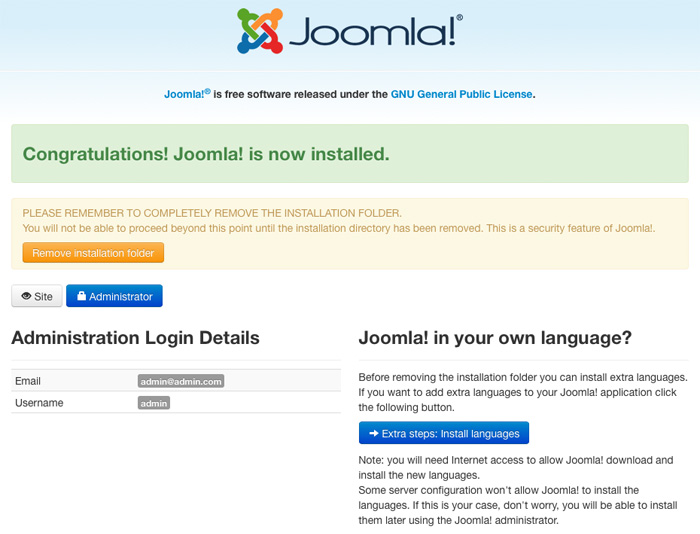 Completing Joomla installation